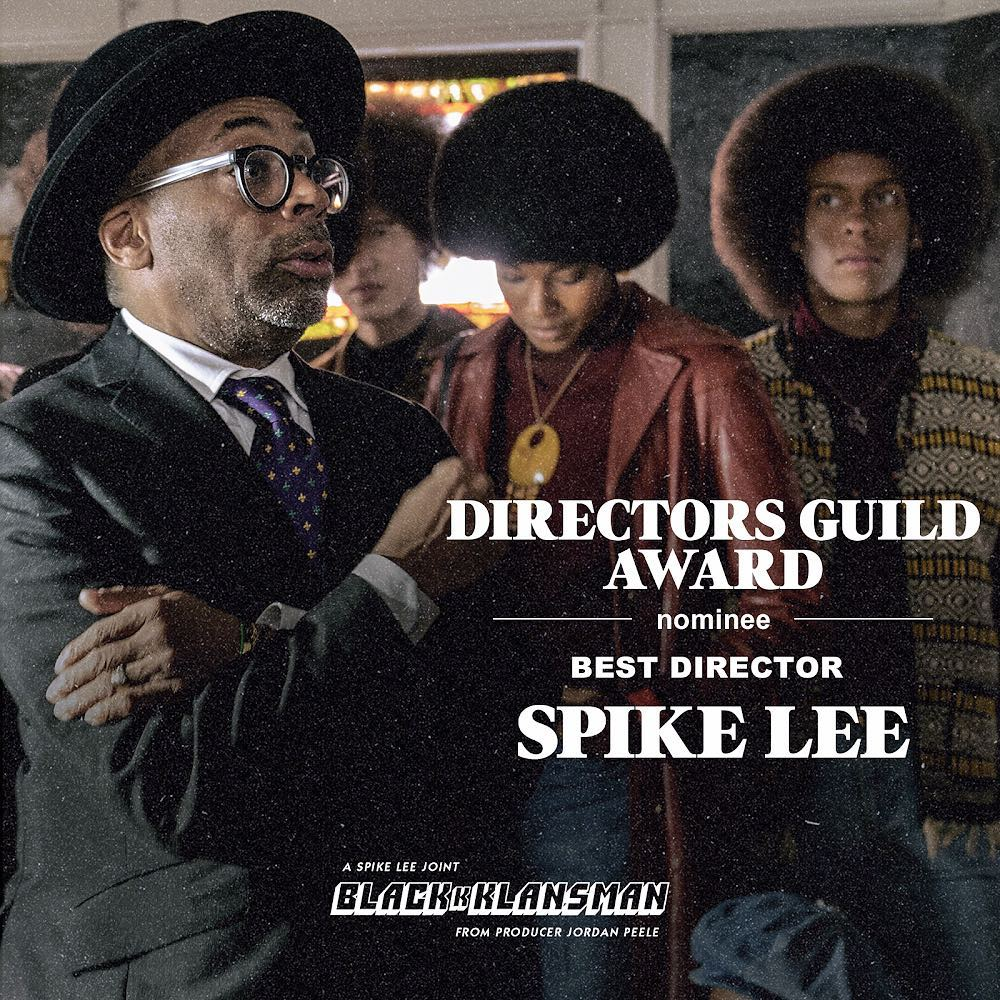 Spike Lee Lands Directors Guild Of America Award Nomination For BlacKkKlansman
